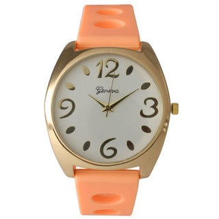 Olivia Pratt Orange/Goldtone Silicone/Stainless Steel Women's Watch