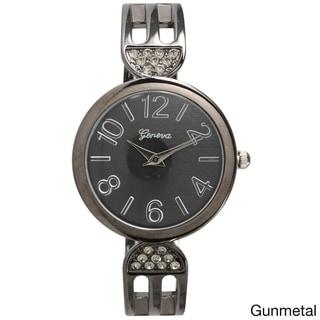 Olivia Pratt Black Stainless Steel Elegant Rhinestone Metal Band Watch