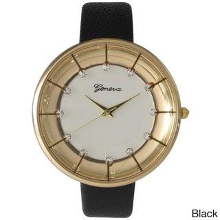 Olivia Pratt Stylish Rhinestone Leather Band Watch