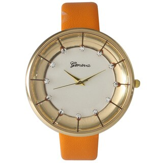 Olivia Pratt Stylish Rhinestone Leather Band Watch