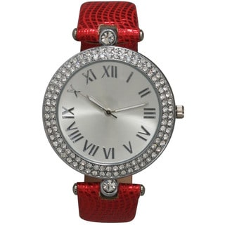 Olivia Pratt Red/Silvertone Leather/Stainless Steel Patterned Strap Watch