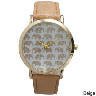 Olivia Pratt Elephants Leather Strap Watch