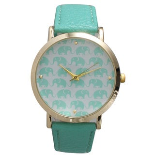 Olivia Pratt Elephants Leather Strap Watch