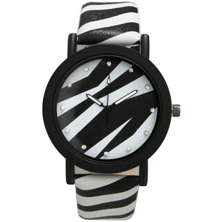 Olivia Pratt Leather Strap Rhinestone Hour Marker Mineral Dial Zebra Print Chinese Quartz Movement Watch (Option: White)