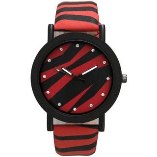 Olivia Pratt Leather Strap Rhinestone Hour Marker Mineral Dial Zebra Print Chinese Quartz Movement Watch
