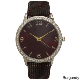 Olivia Pratt Sparkly Leather Strap Watch (Option: Red)