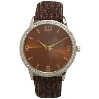 Olivia Pratt Sparkly Leather Strap Watch (Option: Brown)