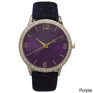 Olivia Pratt Sparkly Leather Strap Watch (Option: Purple)