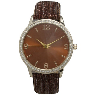 Olivia Pratt Sparkly Leather Strap Watch