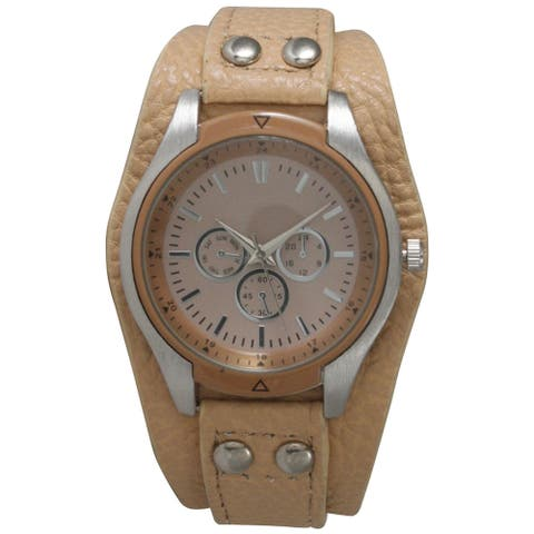 Olivia Pratt Tan Leather/Stainless steel Tapered Pebbled Women's Fashion Watch