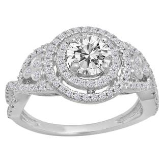 Elora 14K Gold 1 1/3 ct. Round Cut Moissanite & White Diamond Ladies Swirl Bridal Halo Engagement Ring (I-