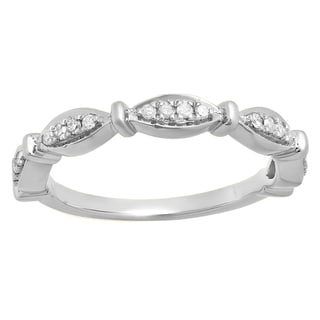 Elora 14K Gold 1/5 ct. TDW Round White Diamond Ladies Vintage Style Anniversary Wedding Stackable Band (I-