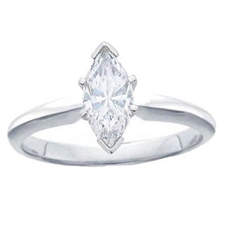 Elora 14k White Gold 1 1/6ct TDW Certified Marquise White Diamond Engagement Ring (H-I, I1)