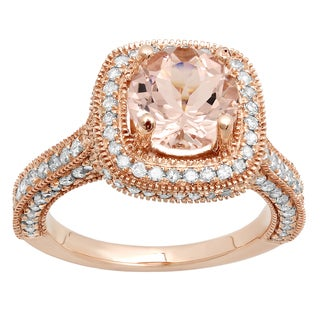 10K Rose Gold 2 3/8 ct. Round Cut Morganite & White Diamond Bridal Engagement Ring (I-J & Pink, I1-I2 & Moderately Included)