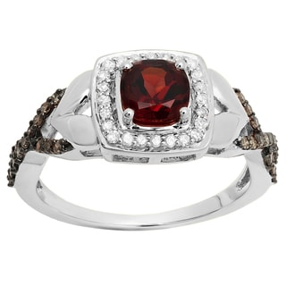 14k Gold Red Garnet and 2/5ct TDW Champagne and White Diamond Bridal Engagement Ring (I-J, I2-I3)