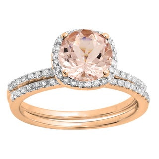 Elora 10K Rose Gold 3/4 ct Round Morganite and White Diamond Bridal Halo Engagement Ring Set (I-J, Pink; I