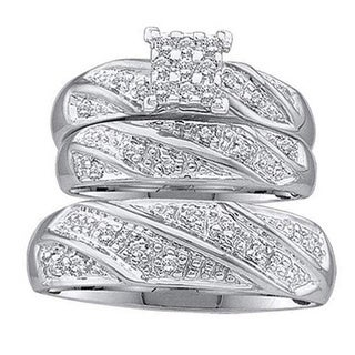 10k White Gold 1/4ct TDW White Diamond Men and Womens Engagement Ring Trio Bridal Set