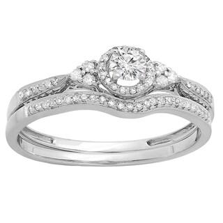 Elora 10k White Gold 1/3ct TDW Diamond Halo Style Bridal Set (I-J, I2-I3)