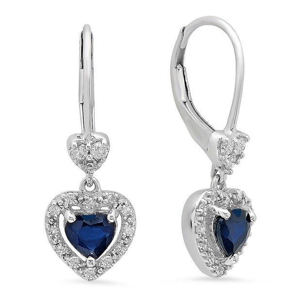 1 1//2 ct Created Blue /& White Sapphire Drop Earrings in Sterling Silver