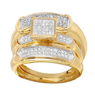 Elora 18k Yellow Rhodium-Plated Sterling Silver 1/3ct TDW White Diamond Men and Women's Engagement Ring Tr