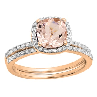10K Rose Gold Morganite, 1/4ct TDW White Diamond Bridal Engagement Ring Set (I-J, I1-I2)