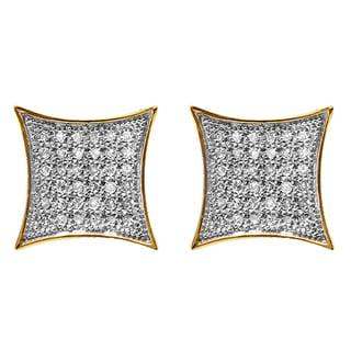 Elora 10k Yellow Gold 1/5ct TDW White Diamond Kite Shape Stud Earrings (I-J, I2-I3)