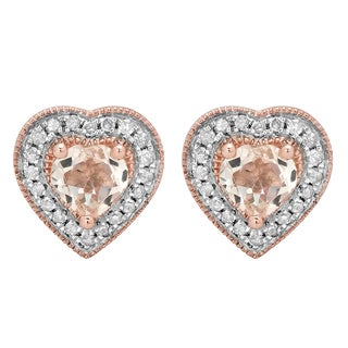 Rose Goldplated Sterling Silver 1 1/20ct TGW Morganite and Diamond Accent Heart Stud Earrings (I-J, I2-I3)