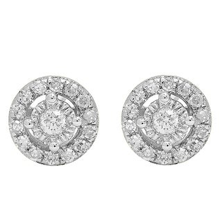 10k White Gold 1/5ct TDW White Diamond Cluster Halo Style Stud Earrings (I-J, I2-I3)