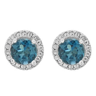 10K White Gold 1ct Round London Blue Topaz Ladies Halo Style Stud Earrings