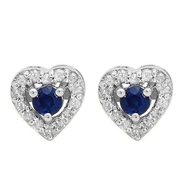 1//5ct Princess cut blue diamond stud earing 10k white gold i2-i3