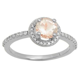 14K Gold 1 1/20 ct. Round Cut Morganite and White Diamond Halo Engagement Ring (I-J, Pink; I1-I2, Moderate)