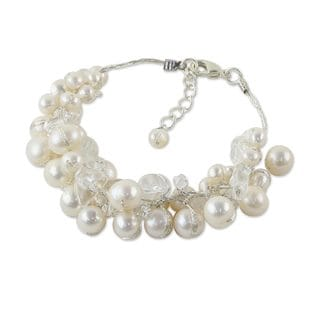 Handcrafted Sterling Silver 'Pure Snow' Cultured Pearl Bracelet (4-7 mm) (Thailand)