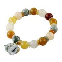 Handmade Sterling Silver 'Elephant Remembrance' Jade Quartz Bracelet (Thailand)