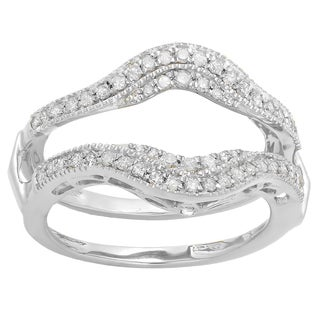 Elora 10K Gold 1/2ct TDW White Diamond Enhancer Guard Double Wedding Ring (I-J, I1-I2)
