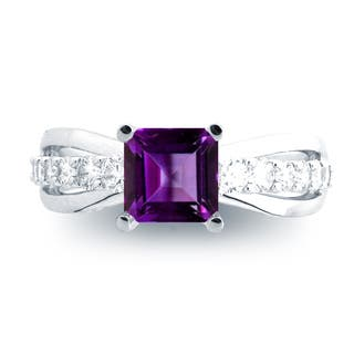 Azaro 14K White Gold 1ct Amethyst and 1/2ct TDW Diamond Engagement Ring (H, SI1-SI2)|https://ak1.ostkcdn.com/images/products/13226474/P19943538.jpg?impolicy=medium