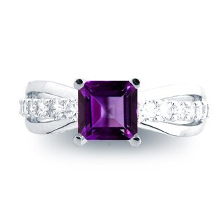 Azaro 14K White Gold 1ct Amethyst and 1/2ct TDW Diamond Engagement Ring (H, SI1-SI2)