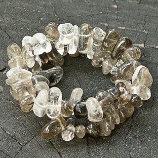 Set of 2 Handcrafted Smoky Quartz 'Translucent Crystal' Beaded Bracelets (Brazil)