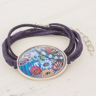Handcrafted Brass Glass 'Oval Patzun Blooms' Bracelet (Guatemala)