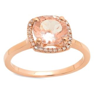 14K Rose 1 5/8ct TGW Gold Round Morganite and White Diamond Halo Style Bridal Engagement Ring (I-J, I1-I2)