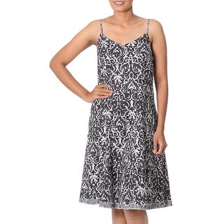 Handcrafted Cotton 'Black Impressions' Sundress (India)