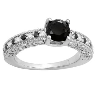 White Gold 1ct TDW Black and White Diamond Bridal Vintage Style Engagement Ring (I-J, I2-I3)