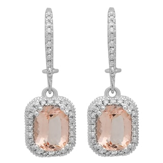 10K Gold 2 7/8 ct Cushion Cut Morganite & Round White Diamond Ladies Dangling Earrings (I-J & Pink, I1-I2 & Moderately Included)