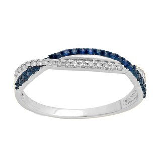 10K Gold 1/4 CT. Round Blue Sapphire & White Diamond Anniversary Wedding Band Stackable Ring (I-J,Blue & I2-I3, Highly Included)