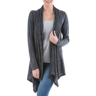 Handcrafted Acrylic Alpaca Blend 'Grey Waterfall Dream' Cardigan Sweater (Peru)
