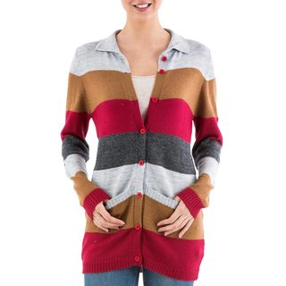 Handcrafted Acrylic Alpaca Blend 'Visual Addiction in Red' Cardigan Sweater (Peru)