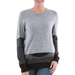 Handcrafted Acrylic 'Imagine in Grey' Pullover Sweater (Peru)