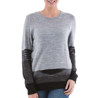 Handmade Acrylic 'Imagine in Grey' Pullover Sweater (Peru)