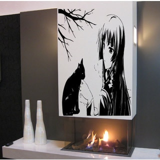 Anime decal, Anime stickers, Anime Vinyl, girl and cat Wall Art Sticker Decal size 48x57 Color Black