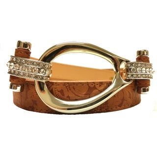 Women's Leather Rhinestone Hook Loop Buckle Embossed Belt