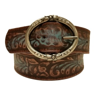 Women's Embossed Leather Floral Design and Rhinestone Accent Buckle Belt